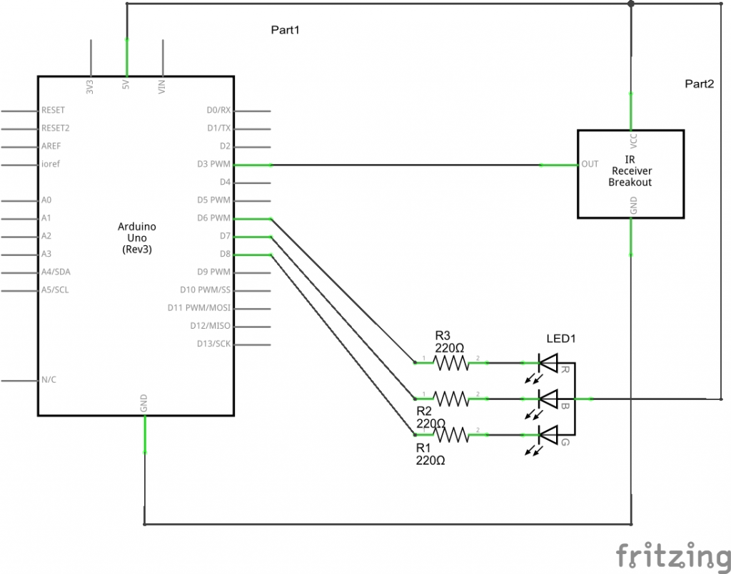 IR and RGB LED schematic