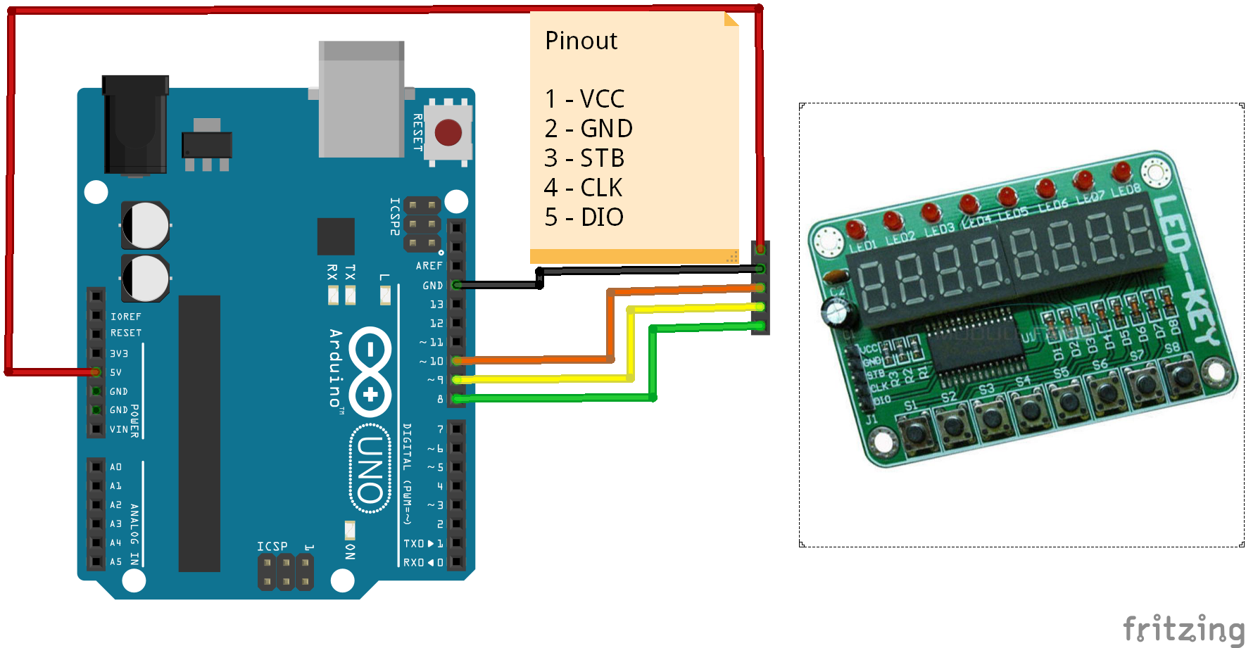 arduino and a tm1638 module arduino learning rh arduinolearning com wiring arduino library download Arduino Relay Wiring Diagram