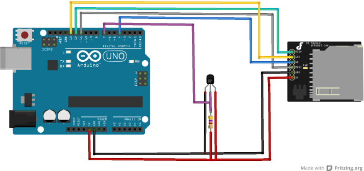 arduino and sdcard and ds18b20 layout