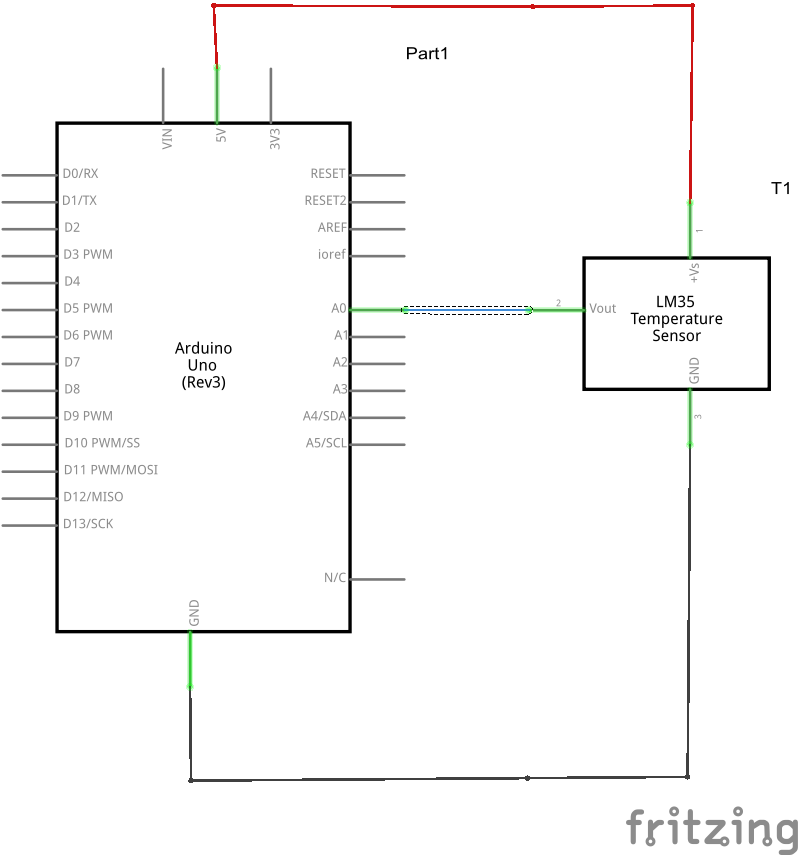 Arduino and lm35 schematic