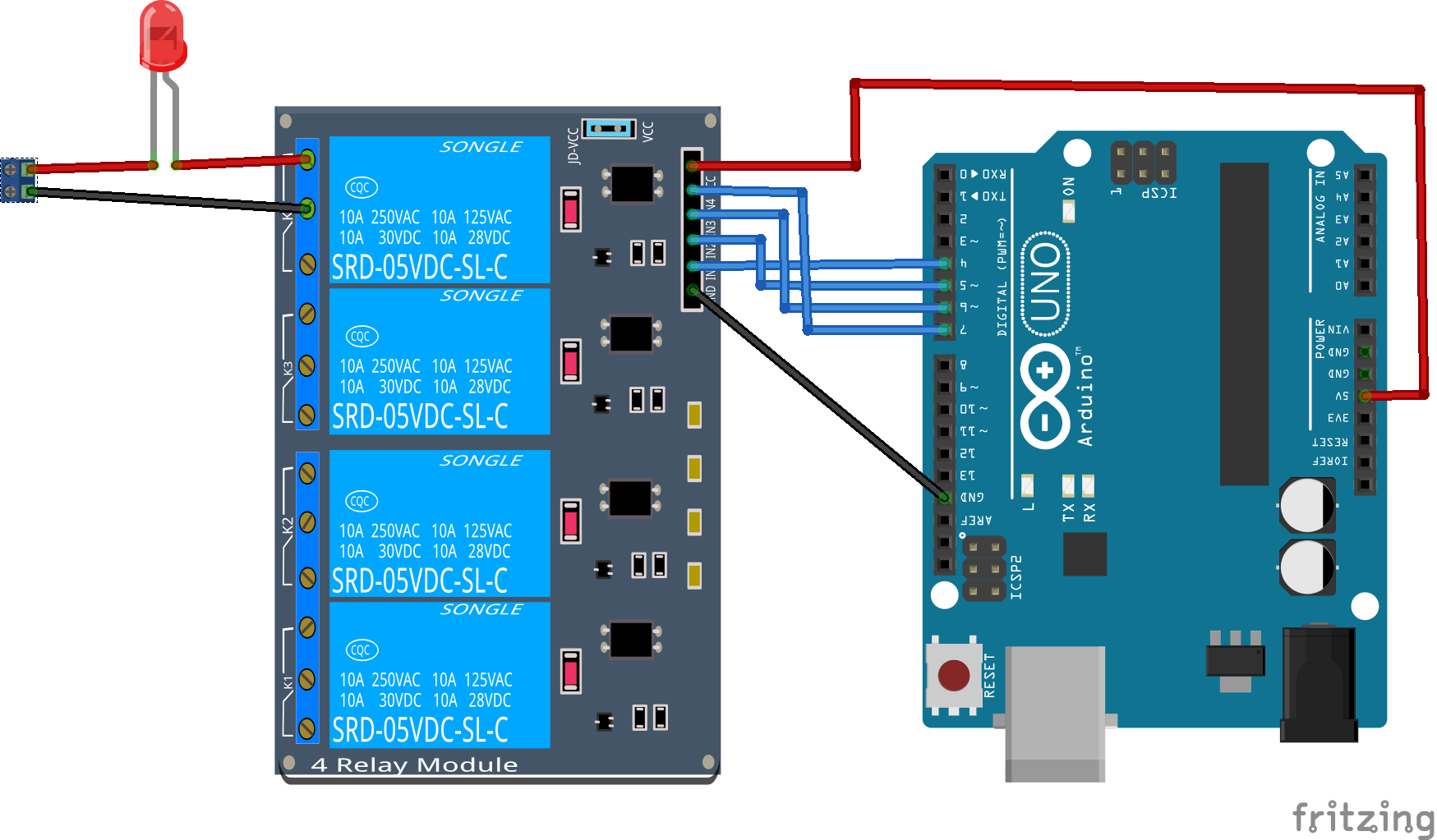 5 volt 4 channel arduino relay module example
