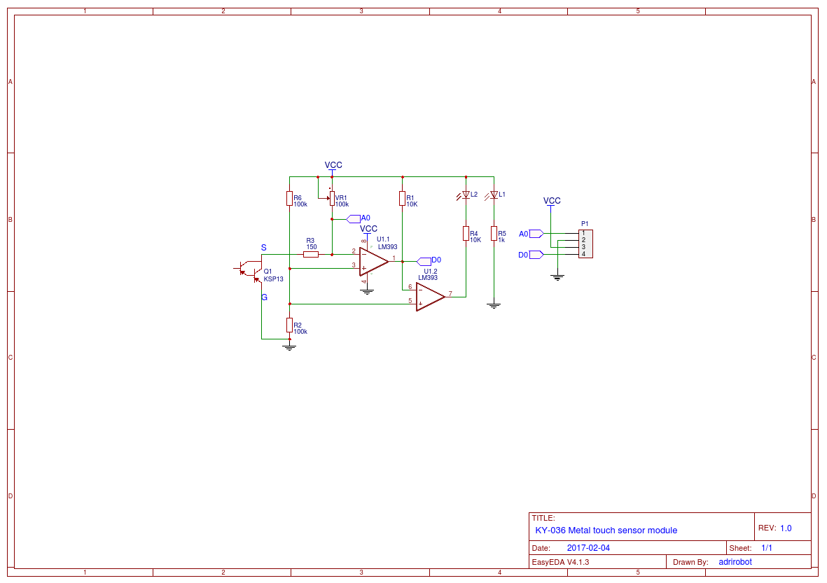 KY-036 Metal touch sensor module and Arduino example