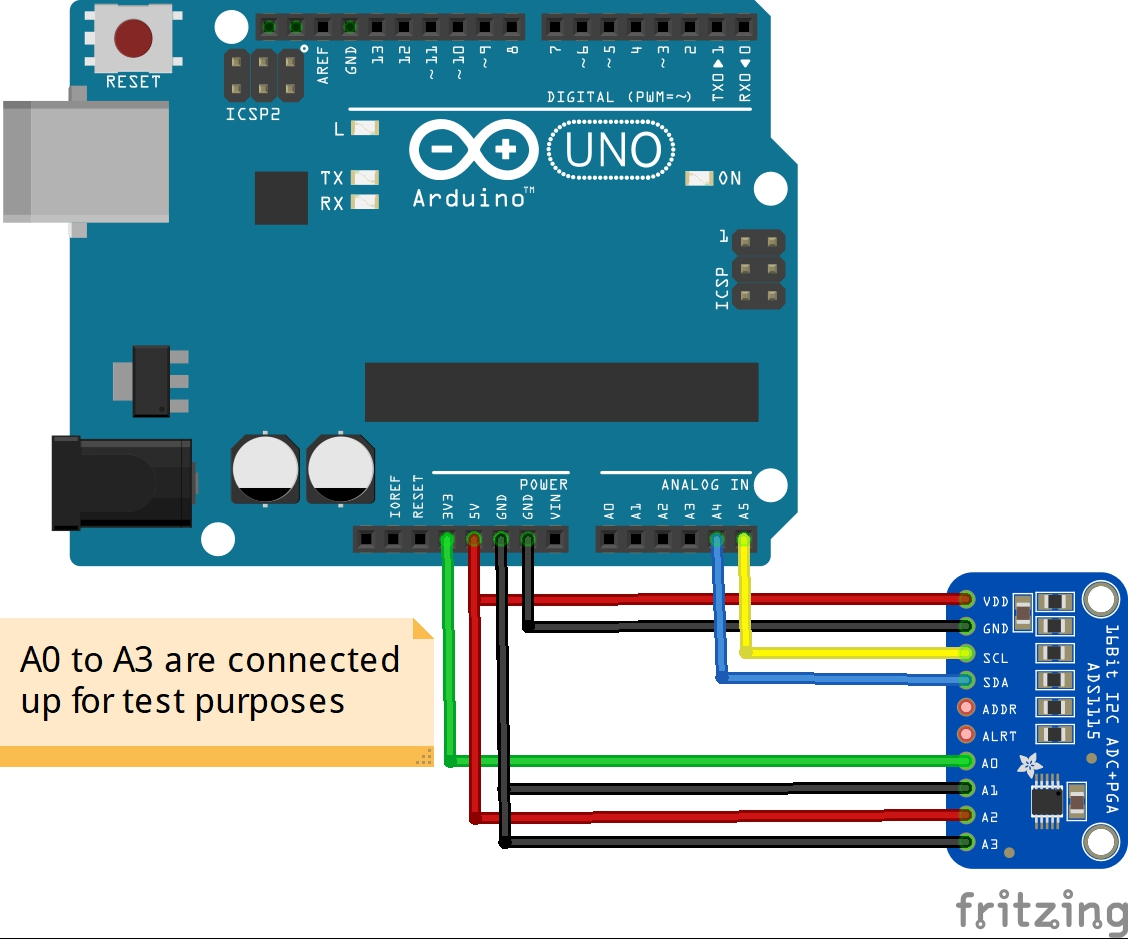 arduino and ads1115 layout