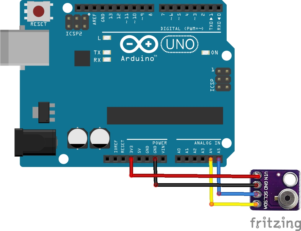 arduino and mlx902615 layout