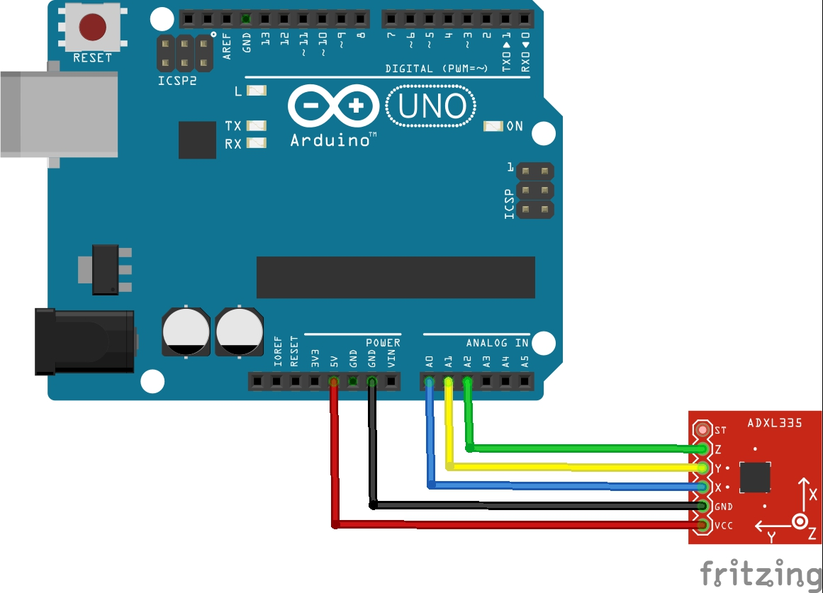 arduino and adxl337