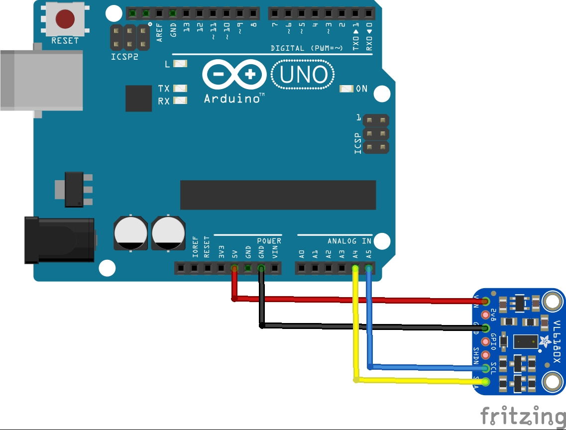 Arduino and VL6180X layout
