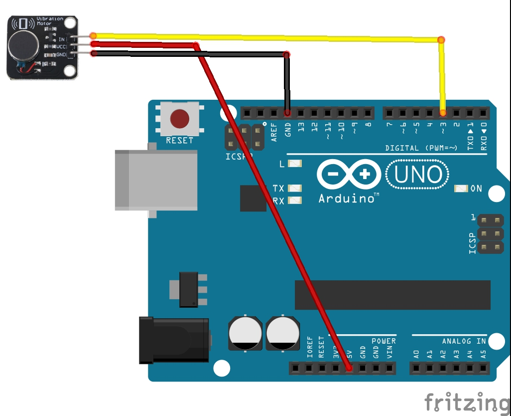 Arduino and vibration motor layout